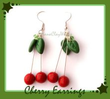 Cherry Earrings - Commission by HanaClayWorks