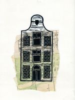 House 03, Lino print on collage by Palindroom
