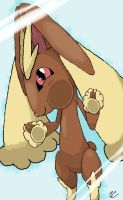 Lopunny up against glass, vertical wallpaper by Gobityn