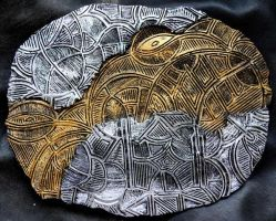 Dreamtime - Ceramic Discus 1 gold/silver small by ArtGenEeRing