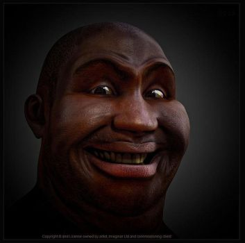 Large mans surprised face built in 3d and rigg by imaginaruk