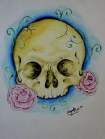 Skullwithroses by xLOCKEx