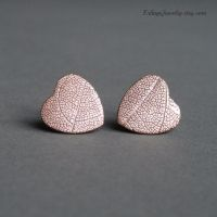 Unique copper heart earrings by Linuziux