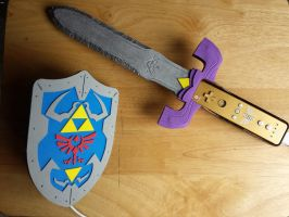 Hylian Shield and Master Sword by ShikaNime