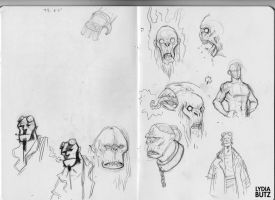 Hellboy Sketches by Girl-on-the-Moon
