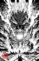 Godzilla Rulers of Earth issue 13 - cover lineart by KaijuSamurai
