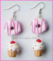 Original CupcakeDonut earrings by Ambient-Lullaby
