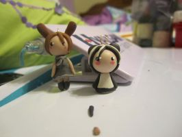 Clay:: Bunneh and Pandah by ldybg95