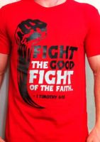 Mens-Fight The Fight-RED by CoveredNTheWORDcom