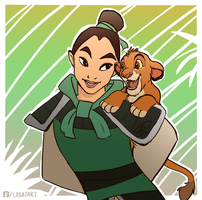 Mulan and Simba by Lobata-chan