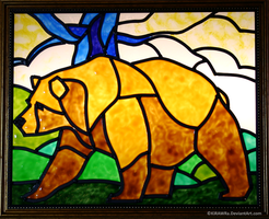 Brown Bear Faux Stained Glass by KiRAWRa