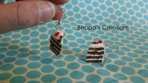 Black Forest Cake Earrings by BeppasCreations