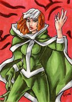 Rogue Gloves Come Off Sketch Card by ibroussardart