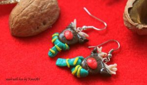 Reindeer Earrings with a scarf by KaoriArt