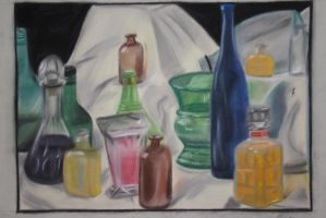 Still Life - Bottles - Soft Pastels by Bright-Eyes-See-Lies