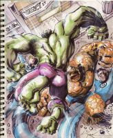 Sketch 10 : Hulk vs. Thing by Cinar