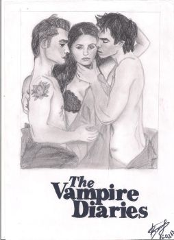 The Vampire Diaries-Elena Damon and Stefan by valentina201