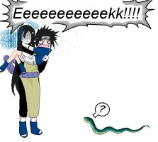 Sasukes scared of snakes by sheepish-Bunbert
