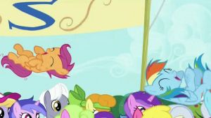 Scootaloo and Rainbow Dash get celebrated! (Crop) by CMC--Scootaloo