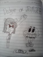 Scarlett and Darwin playing Dodge or Dare by MigsGarcia5127