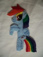 Rainbow Dash Handmade Mini Felt Pocket Pony 1 by grandmoonma
