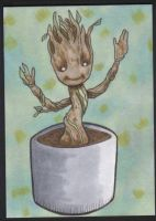 Baby Groot sketch card (SOLD) by angelacapel