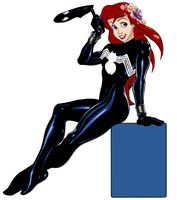 Arial As Spider Girl SYMBIOTE (classic) Sitting by DeathStrokeAC