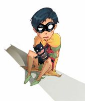 Robin and the batpuppet by XMenouX