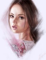 charcoal portrait brushes experiment in color by aynnart