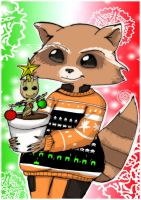Rocket and groot christmas by Danielle-chan