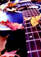 blue guitar, red leaves ...yay by peaceloveaudrey