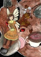 tea fairies and wolf colored by JillyFoo
