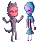 Little Blu and Wolf by erovoid