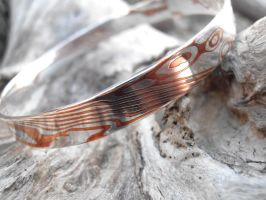 Mokume Gane silver and copper bangle view 1 by fairyfrog