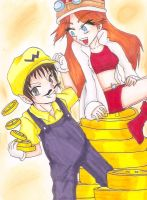 Wario and Mona by AlbanNeji101