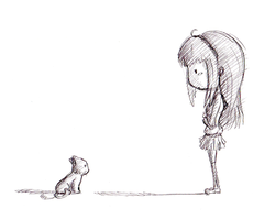 The Girl and the cat by bloominglove