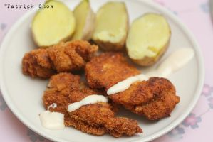 Fried breaded chicken by patchow