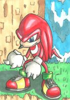 Knuckles Sketch Card by IsaiahBroussard
