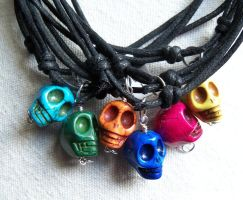 Howlite skull chokers by artefaccio