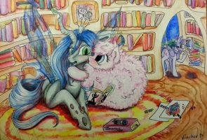 Fluffle Puff and Chrysalis by Vincher