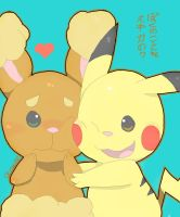 Pikachu and Buneary by Anonymoussence