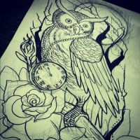 owl with pocket watch by TorieLarson
