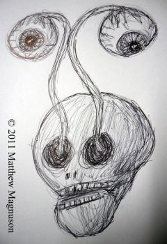 Skull with eyes coming out by PigsCanFly2day