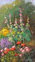 Hollyhocks by rooze23