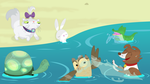 The Pet Six go for a swim by Porygon2z