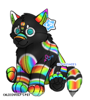 Pansexual Plushie Dog by CalicoWoolfe
