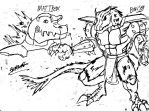 Mattrex and Bowser in Digimon style by CrashBandicoot2015