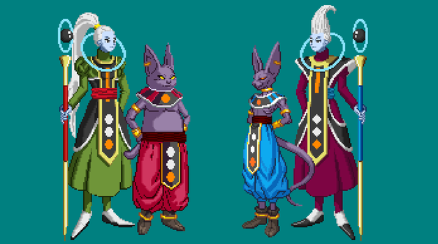 Lord Champa and Lord Beerus with Vados and Whiss by joeflizz