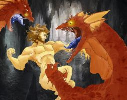 Hercules vs dragons by Colombianit0