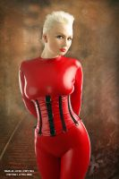 red catsuit and red corset by AgnaDevi